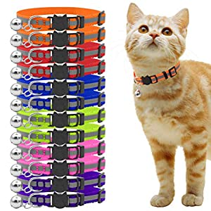 OFPUPPY 6 Pcs Breakaway Cat Collars with Bell - Reflective and Adjustable Style - for Small Pets, Puppies and Kitty 45