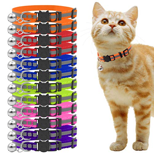 OFPUPPY 12 Pcs Cat Collars Breakaway - Reflective Nylon Safety Collars with Bell for Kitty Kitten -