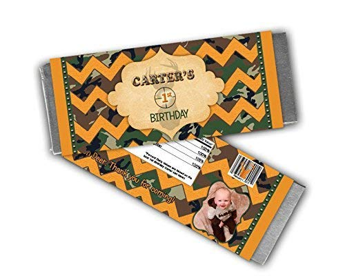 Camo Birthday Candy Bar Wrapper Party Favors Country Hunter