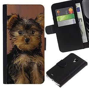 EuroCase - Samsung Galaxy S4 Mini i9190 MINI VERSION! - yorkshire terrier puppy surprised dog - Cuero PU Delgado caso cubierta Shell Armor Funda Case Cover