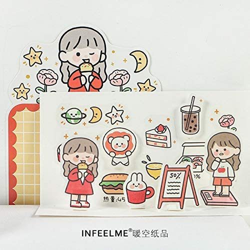 DzdzCrafts 80pcs Red and Orange Cute Girls Stickers Pack for Journaling Scrapbooking Craft Calendar and Planners