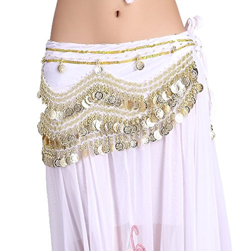 ZLTdream Women's Belly Dance Wave Shape Hip Scarf With Gold Coins White
