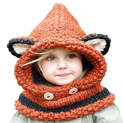 HEEMAA-Winter Kids Warm Fox Animal Hats Knitted Coif Hood Scarf Beanies for Autumn Winter (Orange)