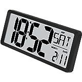 TXL Digital Wall Clock Large Display, Custom Alarm/Calendar/Count Up-Down Timer, Switchable Temp in F/C, 12/24Hr Desktop Day