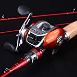 Sougayilang Spinning Baitcasting Fishing Rod with Fishing Reel Combos Left/right (Red/Right)