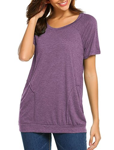 Halife Loose Tunic Shirt Short Sleeve, Womens Casual Pockets T Shirt Tops Purple XL by Halife (Image #4)