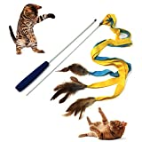 Pet Fit For Life 3 Soft Strands with Feathers Teaser and Exerciser For Cat and Kitten - Cat Toy Interactive Cat Wand