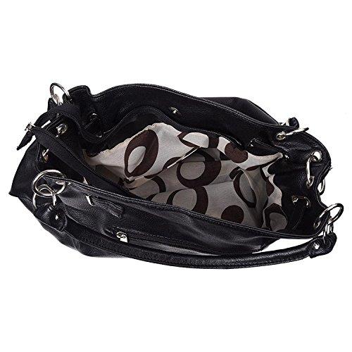 TOOGOO(R)Frauen PU-Leder Hobo Kreuz Handtasche Schultertasche - Schwarz