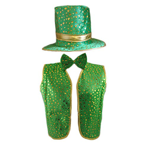 Green Leprechaun Hat (3 Piece (Hat, Waistcoat & Bow Tie) Green & Gold Leprechaun Costume / Suit)