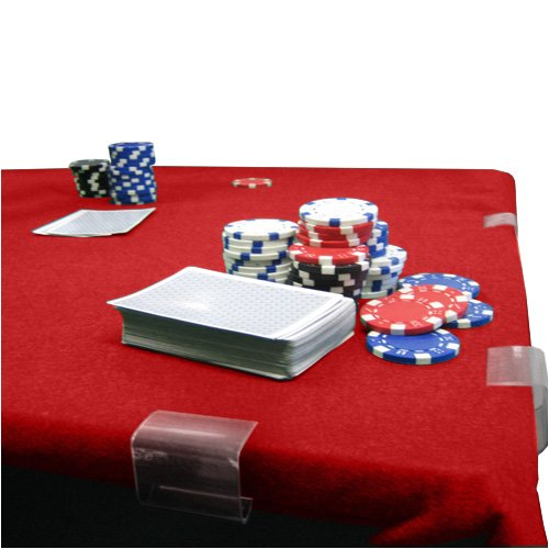 POKER CARD TABLE FELT 2YD X 4YD RED by Clever Pro