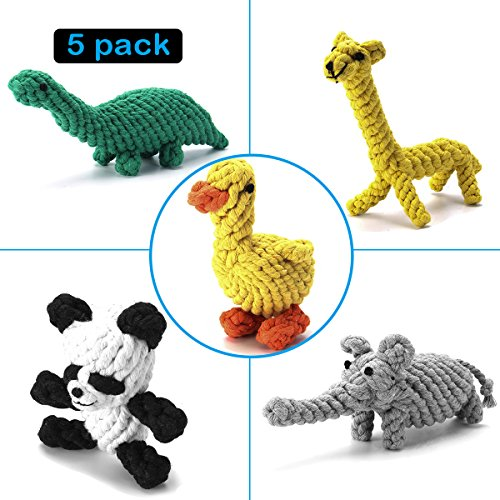 Dog Rope Toys Set, Focuspet Pet Dog Braided Animal Rope Toy Puppy Chew Durable Interactive Cotton Toys Dental Health Teeth Cleaning for Small/Medium-sized Dog Biting Toys (5 Kinds Animal Set)
