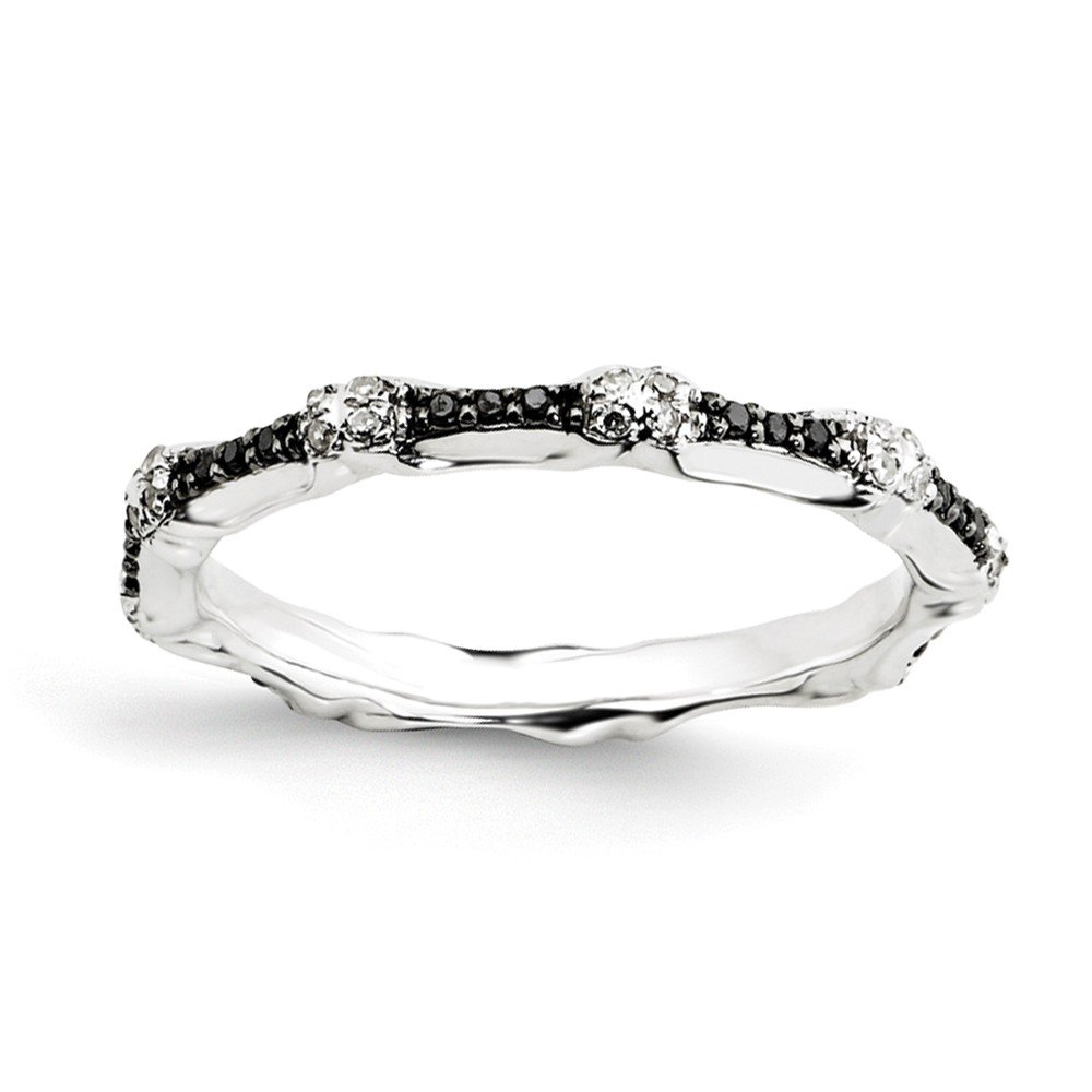 Size 5 Solid 925 Sterling Silver Stackable Expressions Black & White Diamond Ring (2.5mm) (1/5ct.)