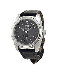 Tudor Glamour Mechanical Grey Dial Black Leather Watch 57000-GYBKL