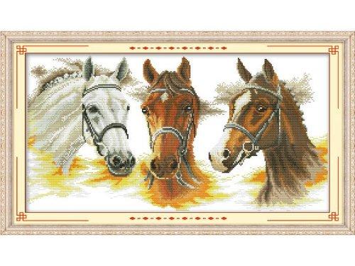 Happy Forever Cross Stitch,Animals, three horses d039