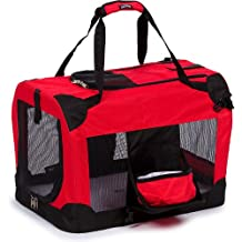 Pet Life Vista-View Deluxe 360 Soft Folding Collapsible Travel Pet Dog Crate, Red, Extra Small