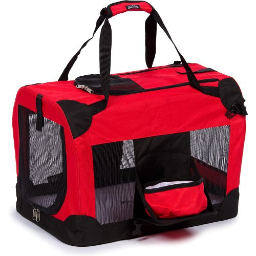 Pet Life Deluxe 360° Vista View' Zippered Soft Folding Collapsible Metal Framed Pet Dog Crate House Carrier w/Removable Bowl and Pop-out Tray, Large, Red