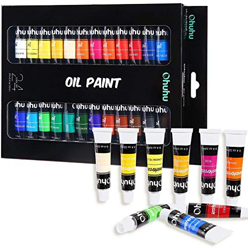 (Ohuhu Oil Paint Set, 24 Oil-Based Colors, Artists Paints Oil Painting Set, 12ml x 24 Tubes)
