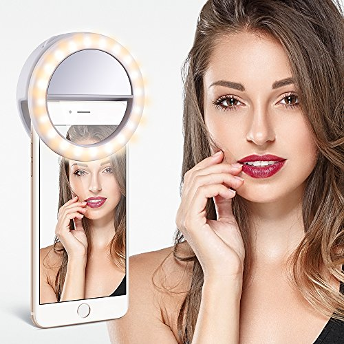 Tycka 40 LED Selfie Ring Light, Stepless Brightness Control, Independent Dimmable Warm White and Cold White, Clip-on and Rechargeable design, Ultra-bright, for iphone samsung sony google and more by TYCKA