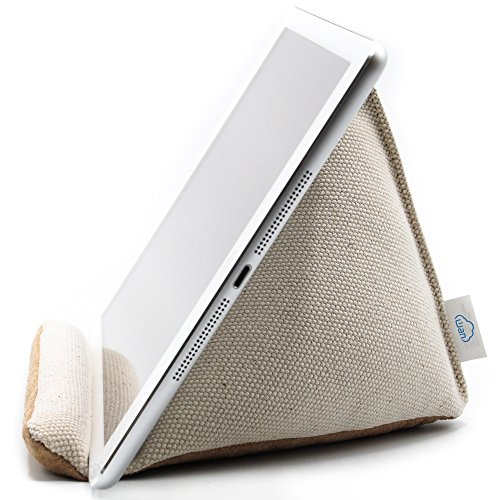 ra-Stable Tablet Pillow Stand with Thick Canvas Fabric Outer and Heavy Bean Filling (Natural White)  (24 Ounce Cotton Web)