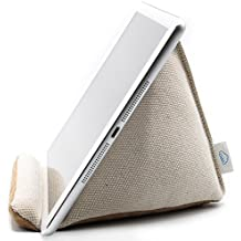 Natural Series - Extra-Stable Tablet Pillow Stand with Thick Canvas Fabric Outer and Heavy Bean Filling (Natural White)