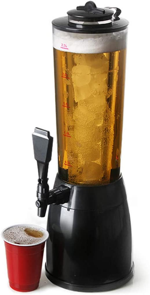 LTLWSH Dispensador de Cerveza de 2,5L Torre de Cerveza Columna de Bebida Dispensador de Bebidas con Compartimiento de Hielo Separado H 53cm