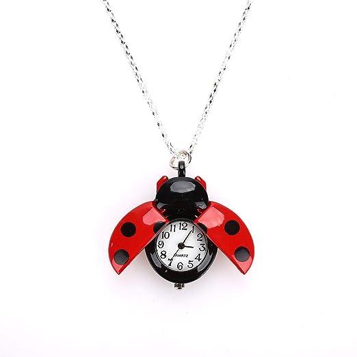 Reloj De Bolsillo Kids Girl Boy, Creative Fashion Beetle Ladybug Vintage Reloj De Pulsera De Cuarzo Escarabajo Red: Amazon.es: Relojes