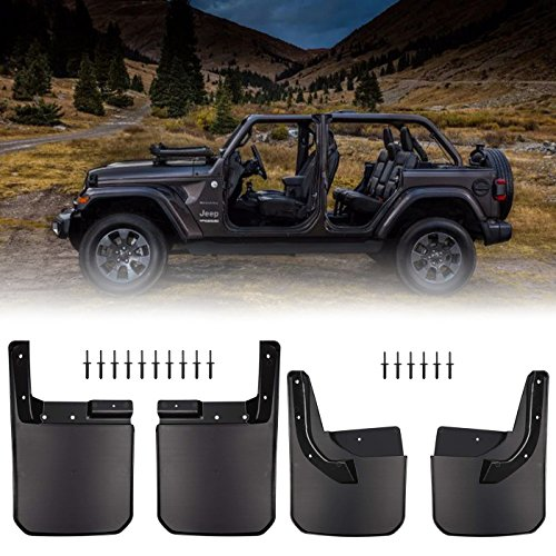 Front & Rear Splash Guards Fender Flares Mud Flaps for 2018 Jeep Wrangler JL