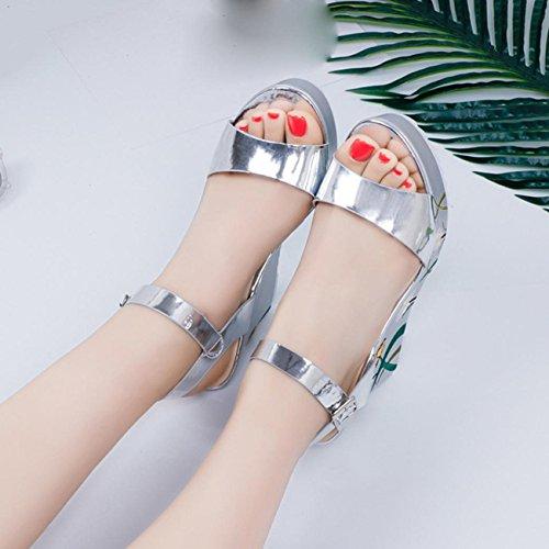 Sandalias De Mujer, Internet Las Mujeres Imprimen Sandalias Verano Pendiente De TacóN Alto Zapatos Plata