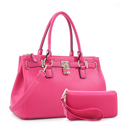 Evelyn and Jessie - Womens Vegan Leather Satchel and Wallet Set (Fuchsia)