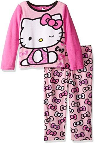 Hello Kitty Pj (Hello Kitty Girls' Little Girls' 2-Piece Fleece Pajama Set, Pink,)