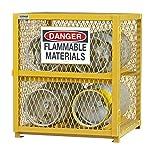 Durham Steel/Iron Horizontal Cylinder Storage Cabinet, EGCC4-50, 4 Cylinder Capacity, 30'' Length x 30'' Width x 35'' Height, Yellow Powder Coat Finish (Pack of 2)