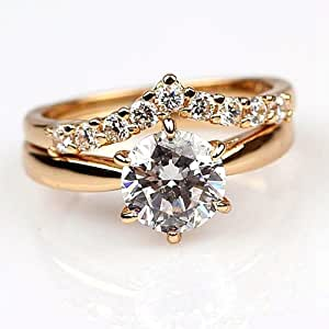 Couple Ring Exquisite 18k Yellow Gold Plated Wedding 2-rings Clear Cz Size6 Ring Set New(dream4girls)