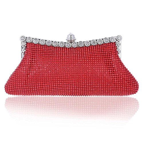Rhinestones Damara Party Mesh Small Damara Ladies Ladies Purse Red ZpBqwT1c
