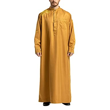 Zhhlaixing Musulmán Ropa de Hombre Vestido de Cuello Formal ...