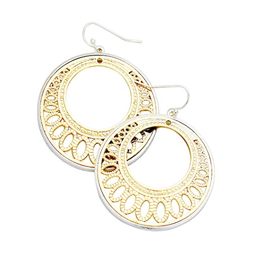 Tone Disc Earrings - Rosemarie Collections Women's Two Tone Filigree Cutout Disc Earrings (Silver with Gold Color)