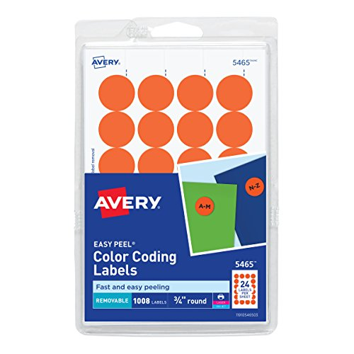 Avery Print/Write Self-Adhesive Removable Labels, 0.75 Inch Diameter, Orange, 1008 per Pack ()