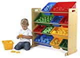 Tot Tutors Kids' Toy Storage Organizer with 12 Plastic Bins, Natural/Primary (Primary Collection)