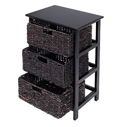 Storage Tower with Baskets Black - Drawer Organizer Cabinet Woven - Best For Office, Bedroom, Bathroom, Laundry Room Bundle w Floor Protector Pads (3 Drawers)