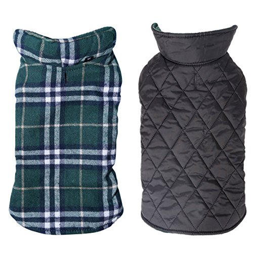 Dog Jacket,TPYQdirect Waterproof Windproof Reversible British style Plaid Dog Vest Winter Coat Warm Dog Apparel Cold Weather Dog Jacket for Small Medium Large dogs (S, Green)