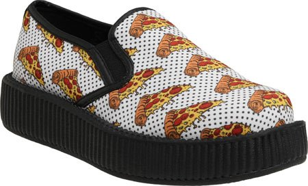 Creeper K T Casual Pizza U White Unisex Polyester On Slip Loafers PUPxBfCwq