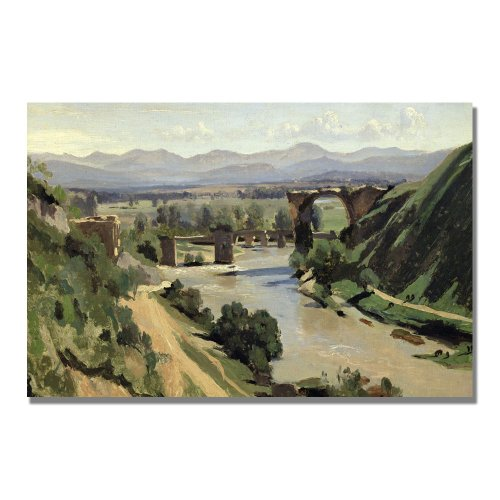 - Nami, The Bridge Of Augustus by Jean Baptiste Corot, 30x47-Inch Canvas Wall Art