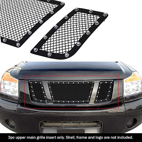 (APS Compatible with 2008-2015 Nissan Titan Stainless Steel Black 1.8 mm Wire Rivets Stud Mesh Grille Insert)