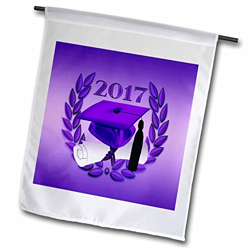 3dRose Beverly Turner Graduation Design - Graduation Cap and Diploma on Leaves, 2017, Purple, Black - 12 x 18 inch Garden Flag (fl_239610_1) -
