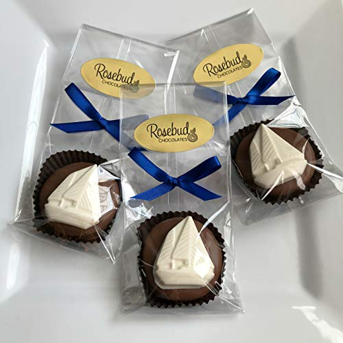 12 SAILBOAT Milk Chocolate Covered Oreo Cookie Party FAVORS (One Dozen) (Milk Chocolate Sailboat)