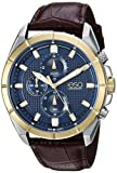 ESQ Men's 'Sport' Quartz Stainless Steel and Leather Casual Watch, Color:Brown (Model: 37ESQE13401A)