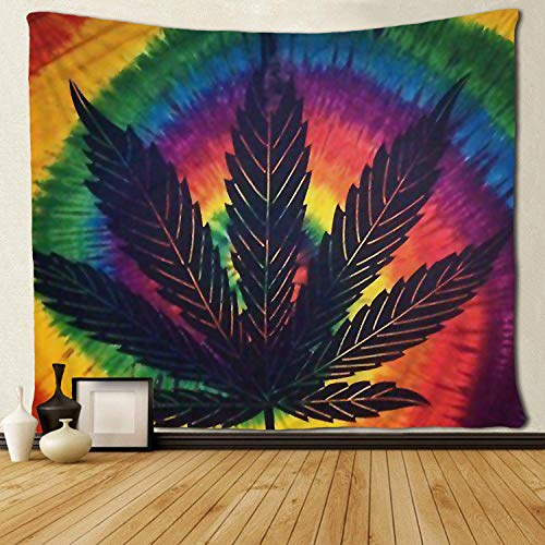 SARA NELL Tapestry Marijuana Leaf Weed Tie Dye Art Tapestries Wall Hanging Throw Tablecloth 50X60 Inches Bedroom Living Room Dorm Room ()