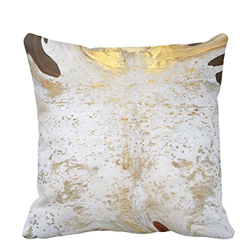 FEEL-R Spotted Gold and White Cowhide Leather Print Throw Pillow (Clean Cowhide Leather)