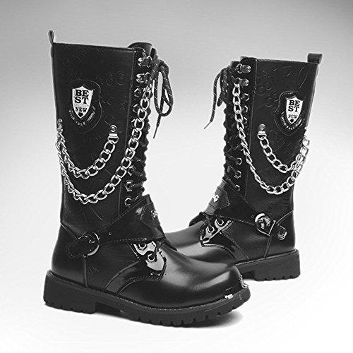 met da in in Stivali Scarpe shoes a 2018 Stivali catena Xujw uomo pelle Uomo in con decorazione da Stringate pelle xAzHqnwC