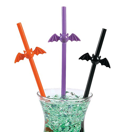 Fun Express Halloween Bat Themed Plastic Party Drinking Straws - 12 Pieces