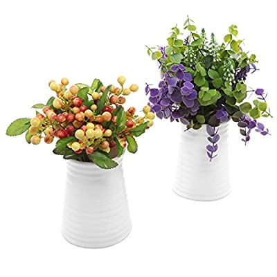 MyGift Ribbed White Ceramic Flower Vases/Tabletop Plant Containers, Set of 2 - A pair of white ceramic vases with an elegant tapered shape and a ribbed exterior. Can be used to hold fresh, silk, or dried flowers as well as office supplies and other items. Perfect for windowsills, office desktops, and even wedding tables. - vases, kitchen-dining-room-decor, kitchen-dining-room - 51NRPg fAYL. SS400  -